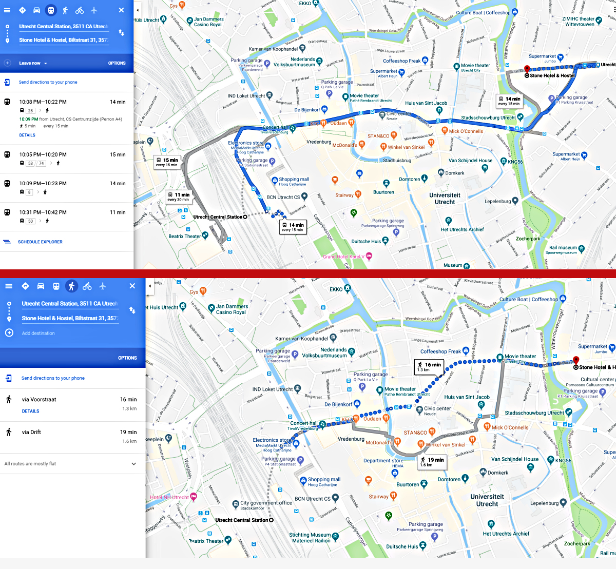 Map: By foot and bus from the Utrecht train station to the Stone Hostel