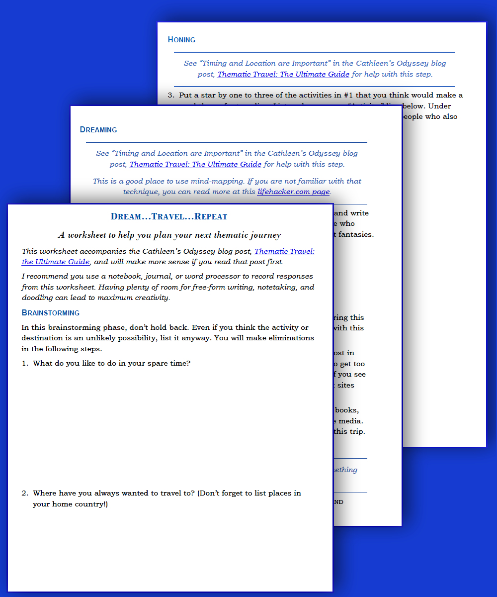 Image of Thematic Travel Worksheets.