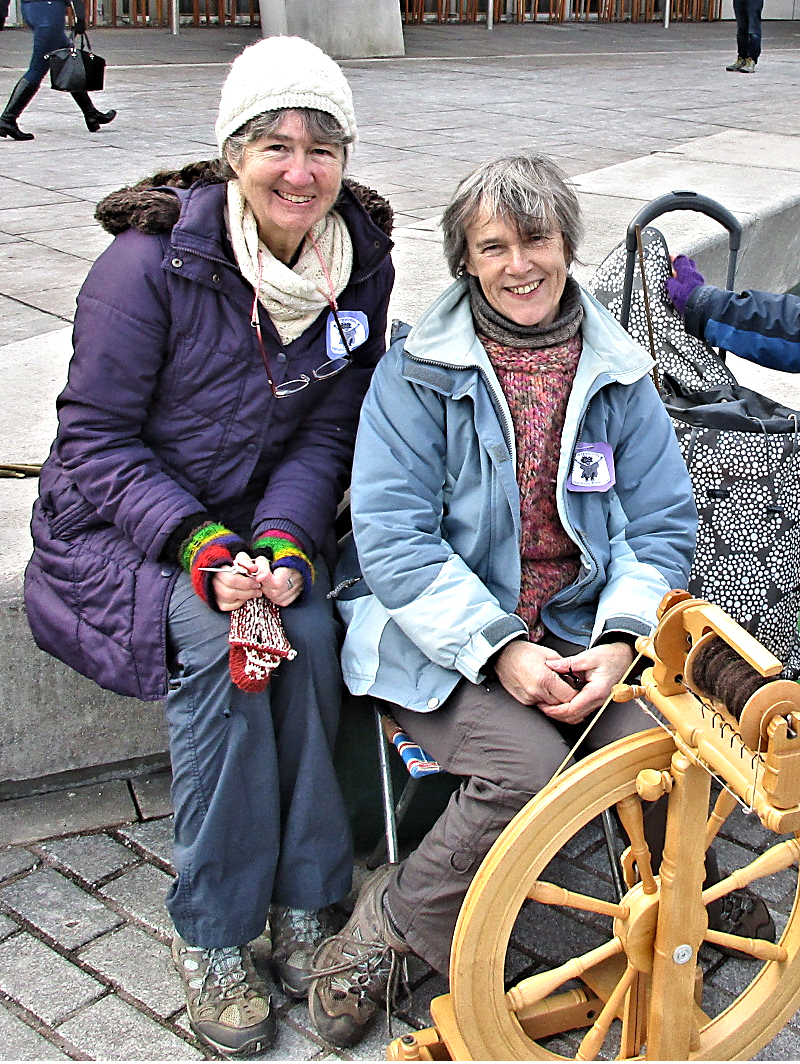 Me with Debbie Zawinski in front of Scottish Parliament
