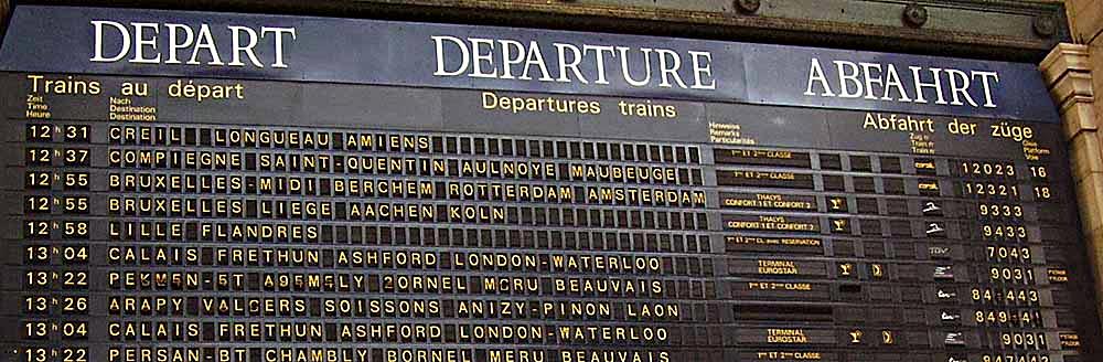 Paris du Nord Train Station Departures Sign