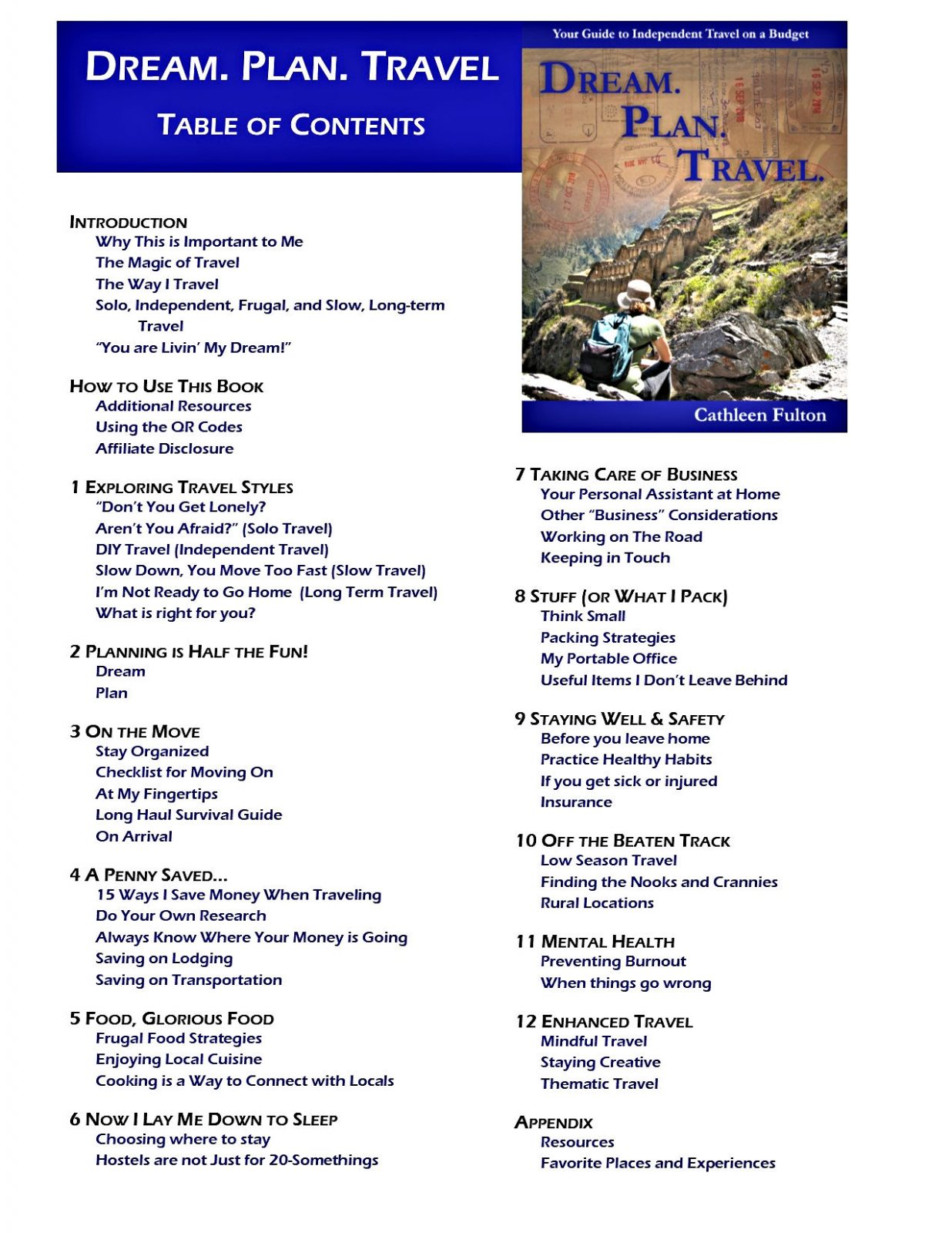 Table of Contents for Dream. Plan. Travel.